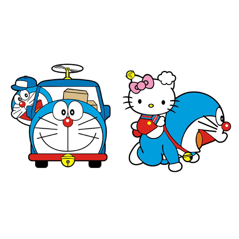 Car Styling Doraemon And Hello Kitty Funny Car Sticker