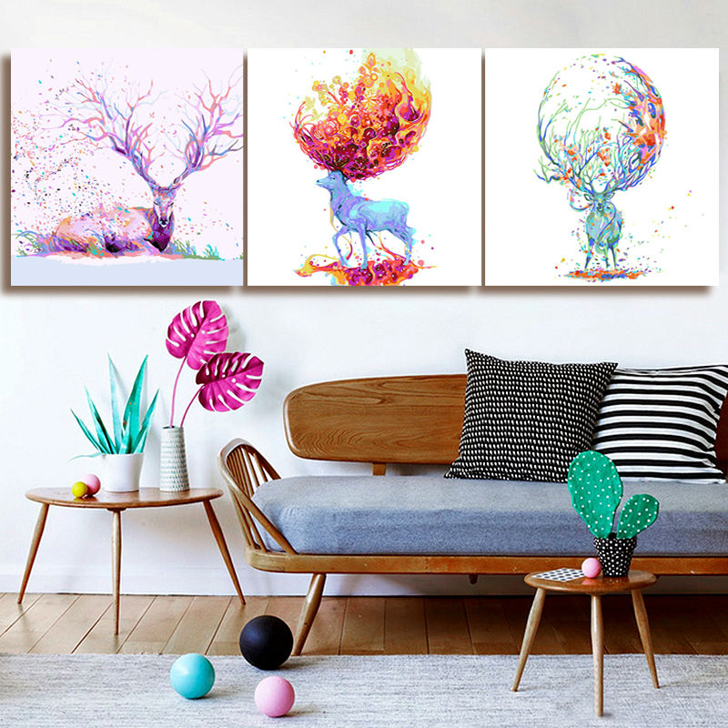 diy digital painting deer diy oil painting home decor for ...