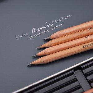 Image 5 - Marco Renoir Premium Professional Art Sketching Pencil Set Iron Box Non toxic Pastel Drawing Pencils 3001 12pcs /H/F/HB/B/2B/3B