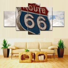 Canvas Painting Prints Route 66 Poster The Road to Mother Landscape Art Picture for Living Room Wall Vintage Home Decoration