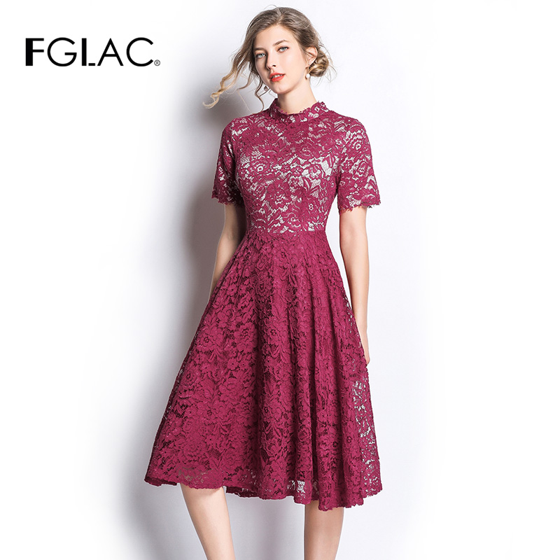 FGLAC Women dress New Arrivals 2019 Spring summer lace dress Fashion Casual short sleeve Hollow out Vintage Party dress Vestidos