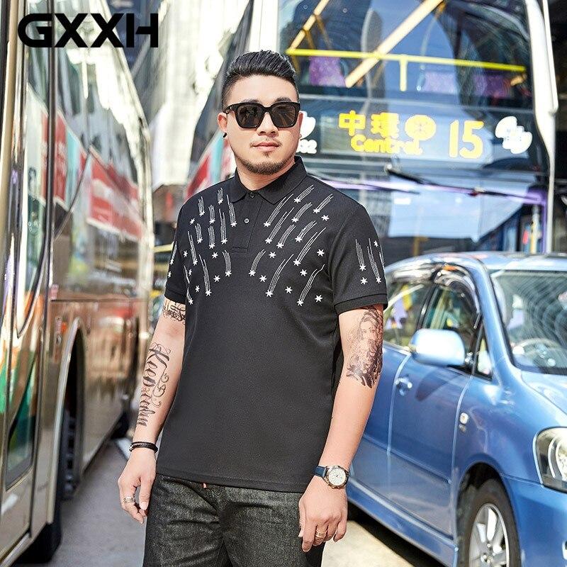 GXXH camisa POLO de talla grande para hombre manga corta 7XL seis estrellas bordado solapa Polo marca grande ropa de hombre 6XL 5XL-in Polo from Ropa de hombre    1