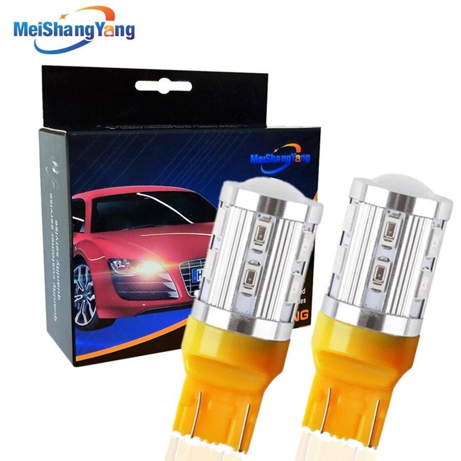 2pcs 7443 7440 Car LED bulbs 12 SMD 5730 W21/5W 5W High power Cree Led Chip lamp Bulbs car light source parking Yellow B014