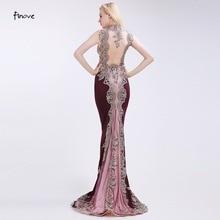 Finove Claret-Red Evening Dresses Elegant 2018 New Mermaid Appliques Court Train Floor Length Mother of the Bride Dresses