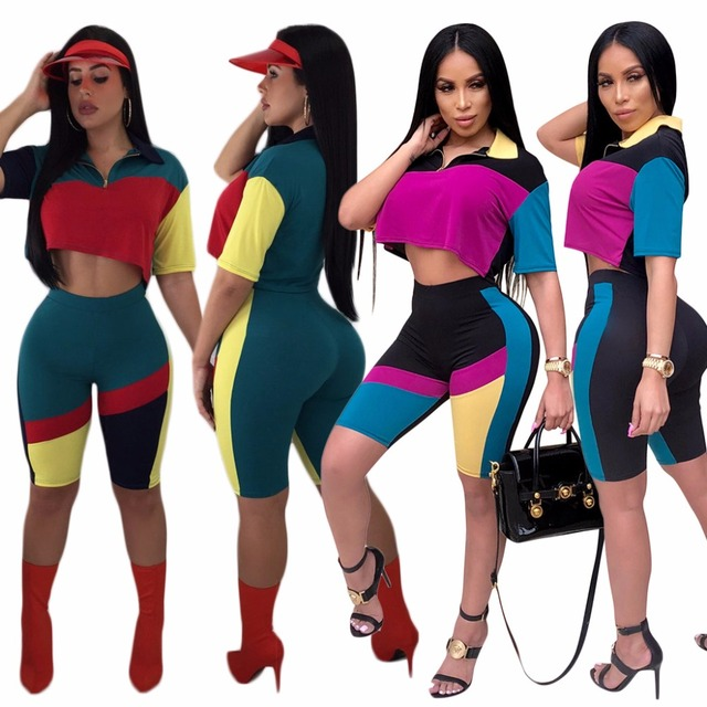 1016177ff68 2 Piece Set Women Patchwork Sexy Short Sleeve Crop Tops+Mid Bodycon Shorts  Suits Summer Outfits Two Piece Casual Tracksuit