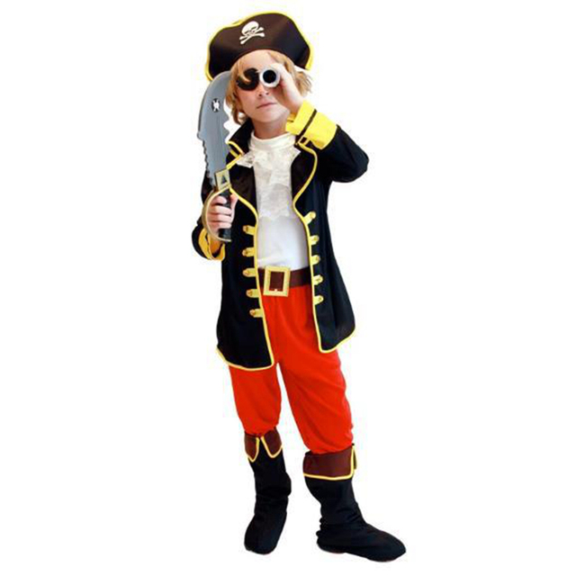 Free shipping!!One-eyed Pirate Suit Children Cartoon Captain Jack Costumes Halloween Boy's Party Cloth Pirates of the Caribbean
