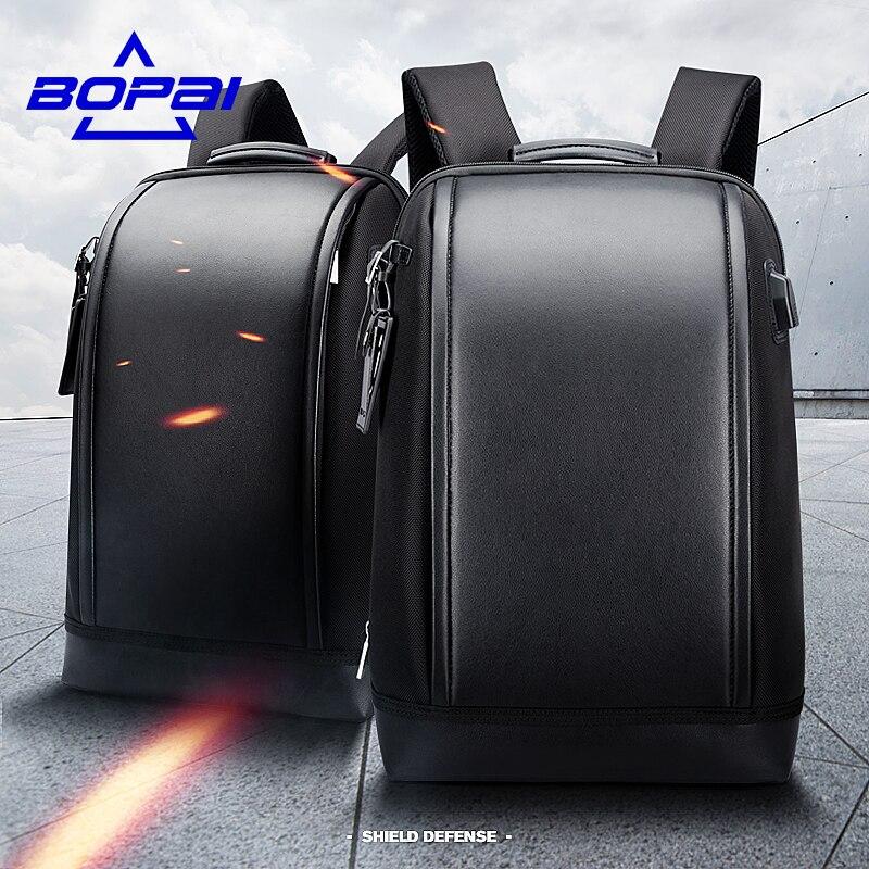 BOPAI основа Форма Бизнес Для мужчин офис работы рюкзак USB зарядка Прохладный Мужской кожаный рюкзак Для мужчин сумки на ремне для работы