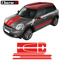 Red Set Car Side Racing Stripes Hood Trunk Rear Decal Sticker For MINI Cooper Countryman 2013