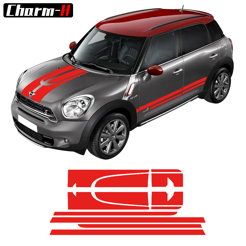 Car Side Racing Stripes Hood Trunk/Rear Bonnet Engine Cover Decal Sticker for MINI Cooper Countryman 2013-2016 - 4 colors car styling hood trunk rear bonnet side stripes decal stickers jcw work graphic all4 for mini cooper countryman f60 2017 present