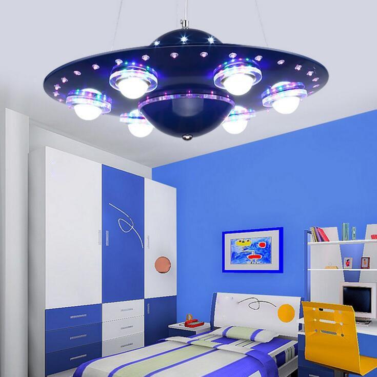 Us 278 0 60 Off Children S Lamp Bedroom Boys And Girls Room Lamp Creative Alien Flying Saucer Chandelier Decoration Lamp Children S Room Cartoon In