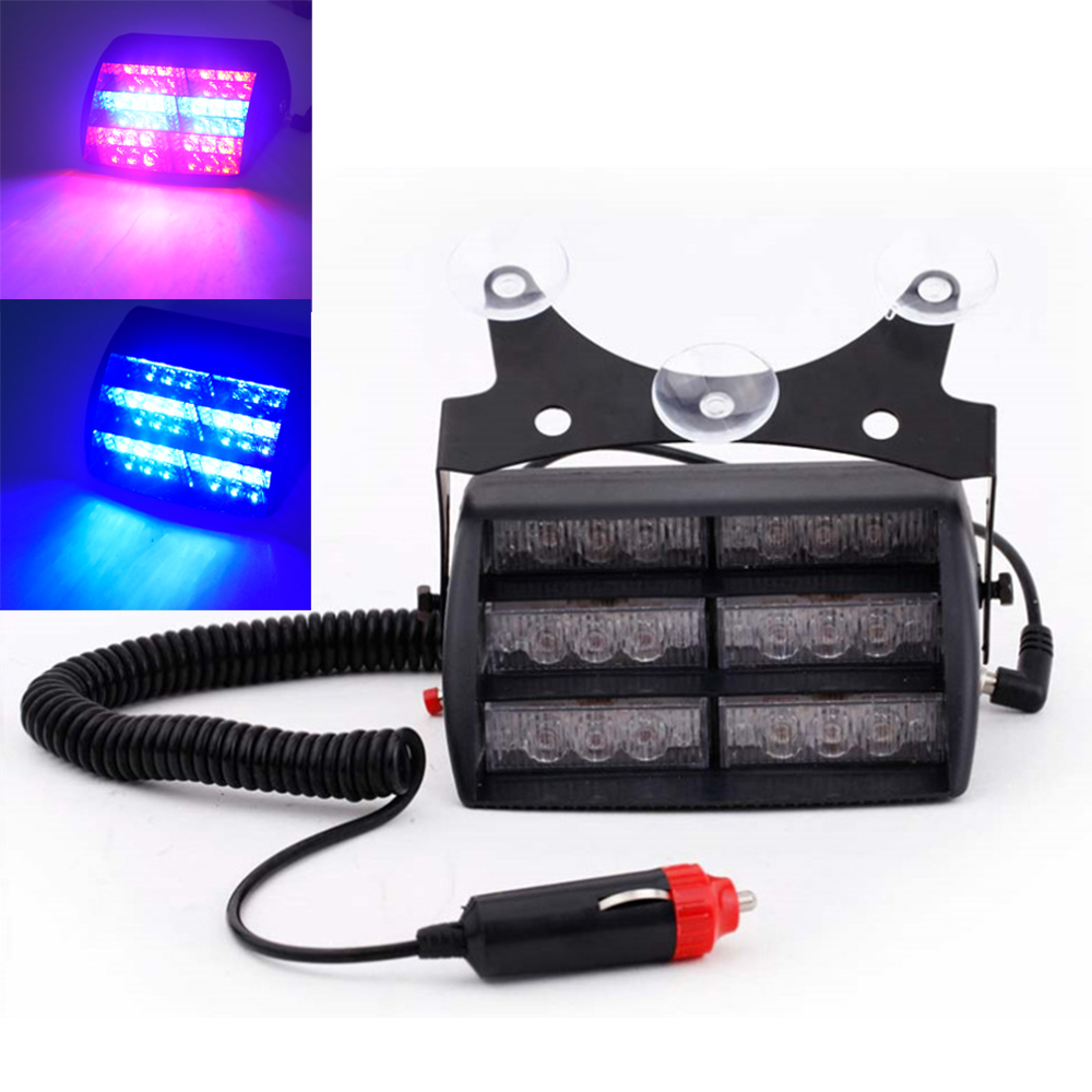 18 LED Red/Blue Car Police Strobe Flash Light Three layers Strobe light Dash Emergency Warning 3 Flashing Fog Lights 4 Style