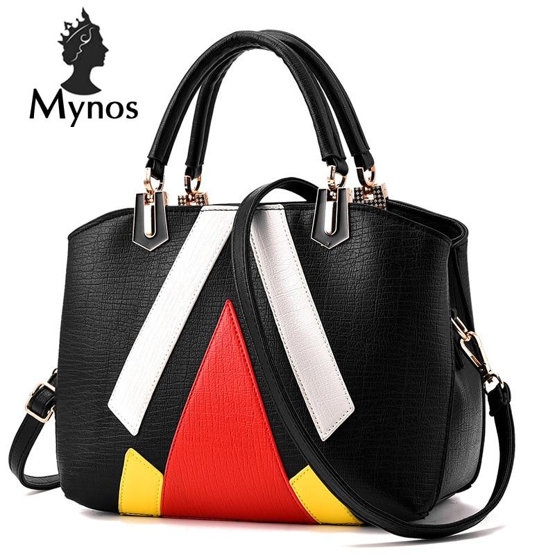 ФОТО MYNOS New Patchwork Luxury Handbags Women Bags Designer Women Messenger Bag Ladies SAC A MAIN Leather Top-Handle Bag For Women