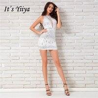 Это YiiYa пикантные белые без рукавов Bling блестками молнии коктейльные платья высокое качество длиной выше колена вечерние платье JL017