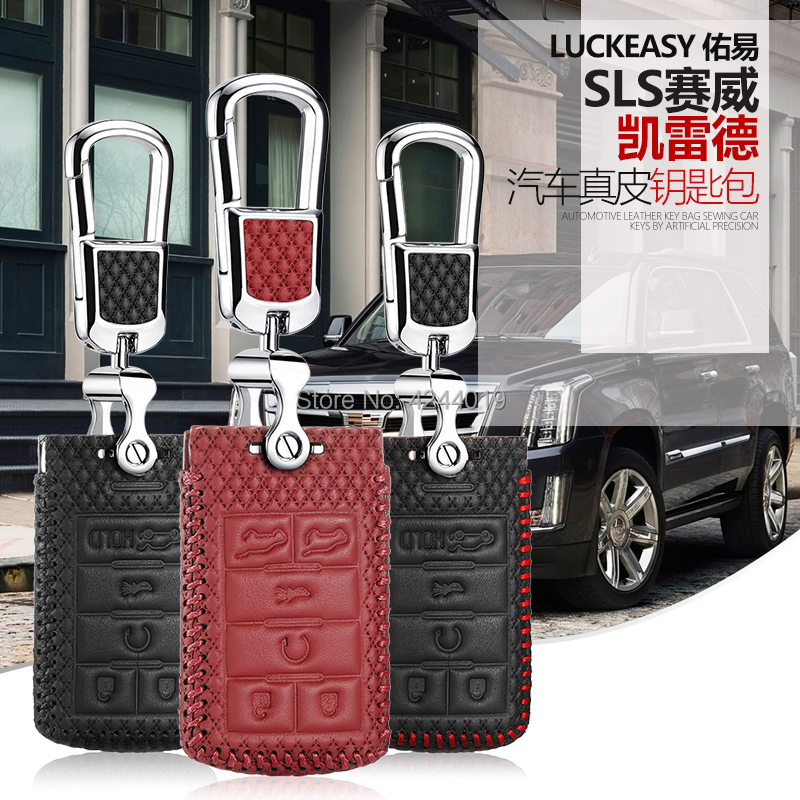 LUCKEASY High-quality Smart Key Keyless Remote Entry Fob Case Cover with Key Chain For Cadillac Escalade SLS