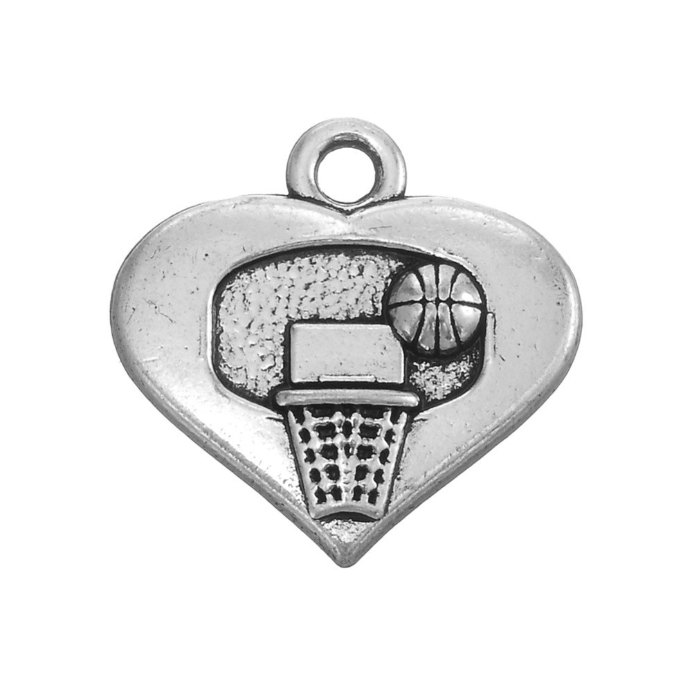 Heart Basketball Hoop Charm