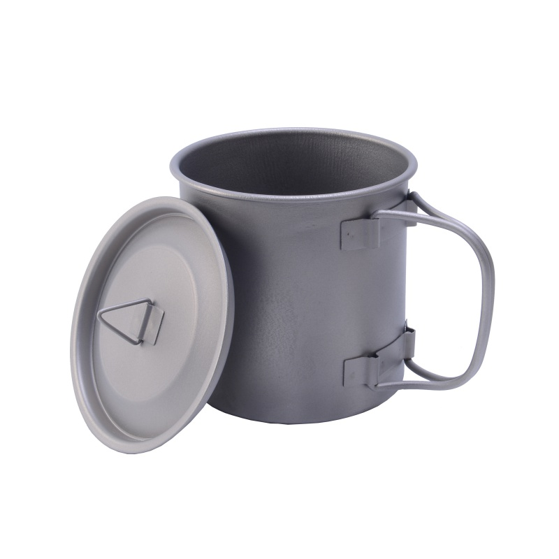 Image 3 - 400ml Titanium Pot Titanium Water Mug Cup With Bowl Cover Foldable Handle Outdoor Camping Pot Cooking Pots Picnic Hang Pot-in Outdoor Tablewares from Sports & Entertainment