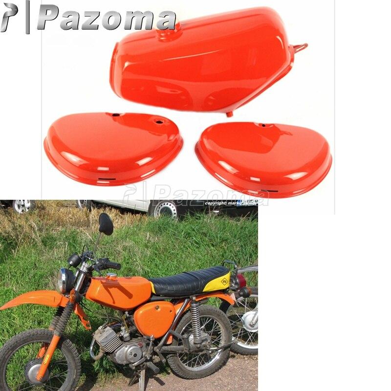 Pazoma moto Orange réservoir d'huile moto gaz réservoir de carburant + 2 protecteur de couverture latérale pour Simson S50 S51 S70
