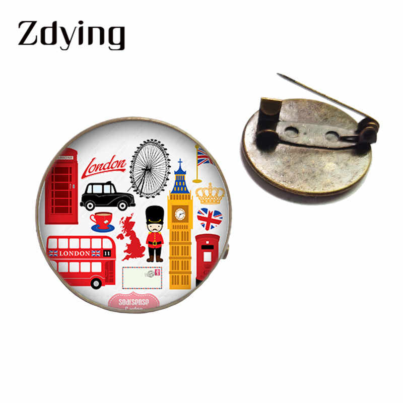 ZDYING Vintage London Bus Badge Metal Brooch Bus Pattern Glass Cabochon Dome Brooches Pins For Bag Clothes Hat Accessories BU005