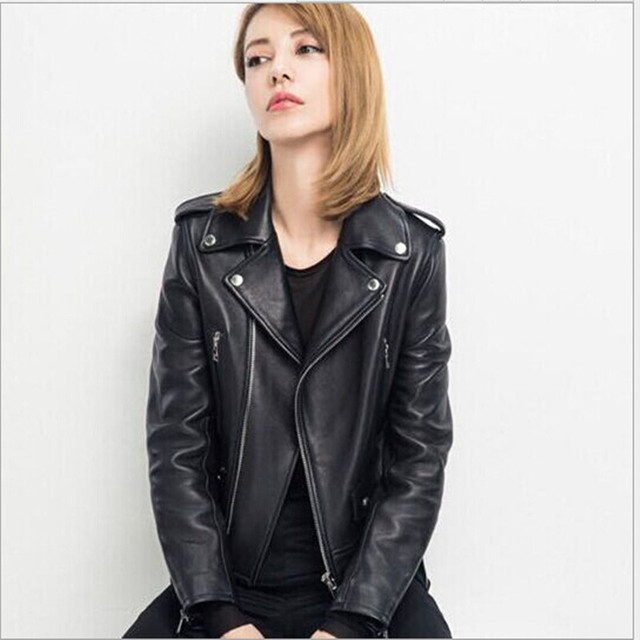 New Fashion Women Faux Leather Jacket Zippers Sexy Slim Buttons Black Turn-down Collar Long Sleeve Lady Motorcycle Coat WT134-S