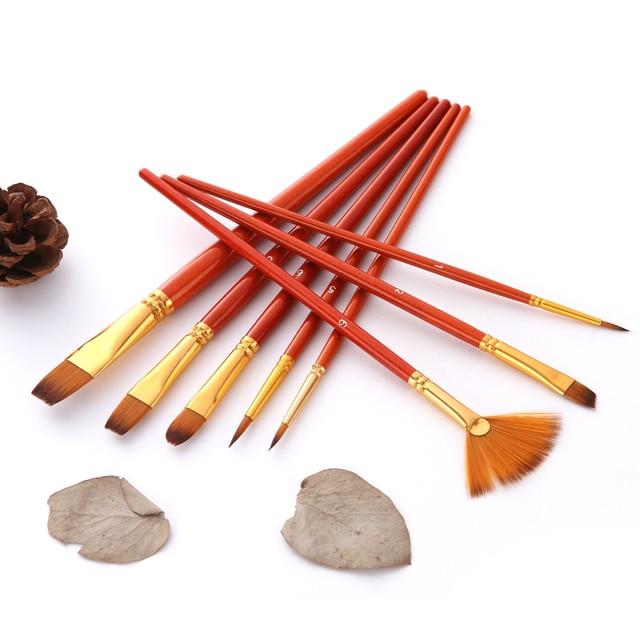 10Pcs Paint Brushes Set Nylon Hair Painting Brush Short Rod Oil Acrylic Brush Watercolor Pen Professional Art Supplies 2