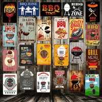 [Mike86] BARBECUE ZONE Grill papas BARBECUE temps métal signes Antique Pub chambre hôtel fête décor rétro mur peinture Plaque FG-223