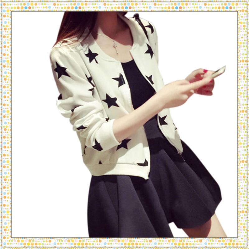 Autumn Harajuku Fashion Stars Print   Jacket   Coat Female Long Sleeve Zipper Slim Fit Outerwear Stand Collar   Basic     Jacket   Coats
