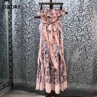 Strapless Long Dress New 2019 Spring Summer Club Evening Long Dress Women Polka Dot Floral Print Pink Long Maxi Dress Sweet Lady