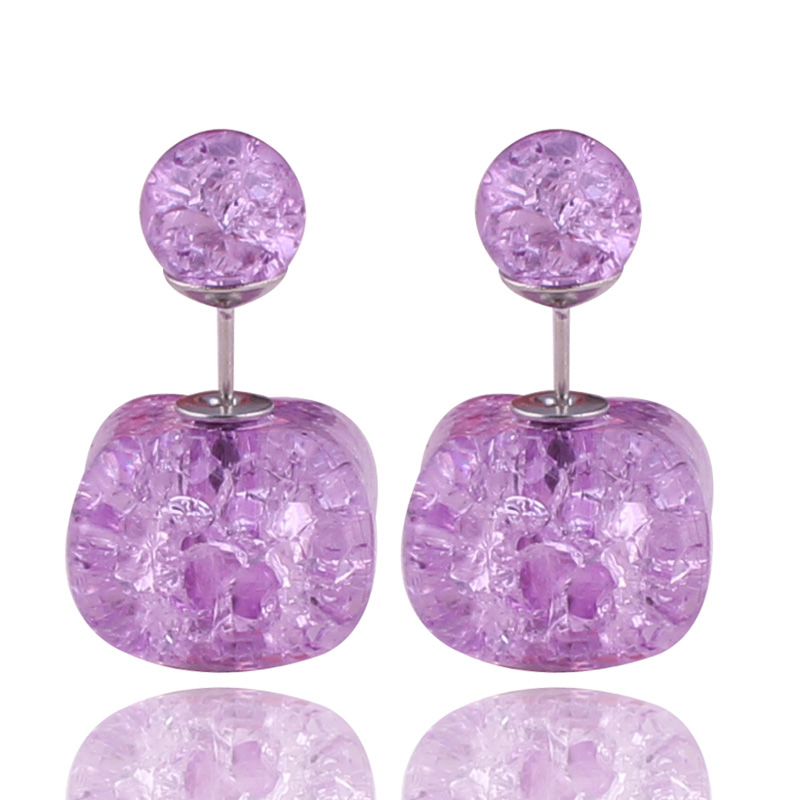 8 Colors New Arrival Natural Stone Crack Double Sides Pearl Earrings Mujer Crystal Double Ball Beads