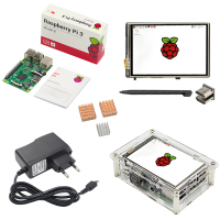 Raspberry Pi 3 3 5 inch HDMI Touchscreen Acrylic Case 2 5A Power Supply Adapter Heat