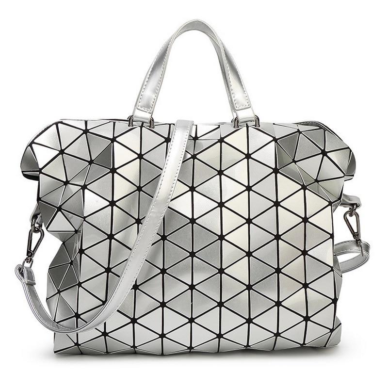 Women Messenger Bag Fashion Gloss Baobao Bag Geometry Package Sequins Saser Plain Folding Handbags Briefcase Shoulder Bags