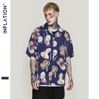 INFLATION Mens Hawaiian Shirt Male Casual Abstract Printed Beach Shirts Short Sleeve Summer 2019 Loose Men Clothes 9218S