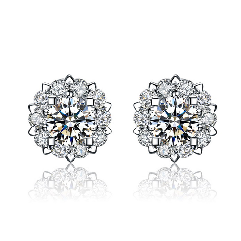 ANI 18K White Gold Women Wedding Stud Earrings Certified I/SI Real Natural Diamond Jewelry Elegant Lady Engagement Stud Earrings