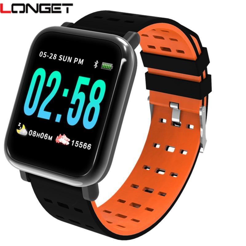 Longet A6 Smart Guarda I Più Nuovi chip di pressione sanguigna misura di Sport Orologio Da Polso Impermeabile Per Il Fitness Tracker Smartwatch per Android IOS