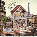 A025 DIY 1:12 3D деревянный Miniatura деревянная мебель кукольный миниатюрный большая модель дом вилла бесплатная доставка
