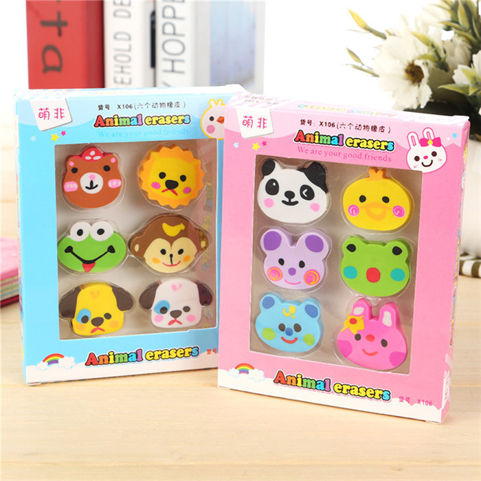 6 Pcs/pack Creative Lovely Design Mini Erasers Students And Children Small Prizes Stationery Erasers