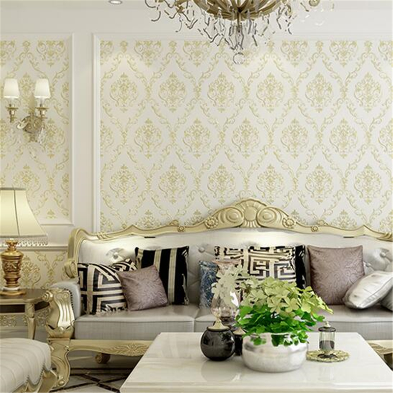 beibehang non-woven European wallpaper deep embossed living room bedroom warm TV background wall paper Hotel Papel de parede beibehang blue wallpaper non woven