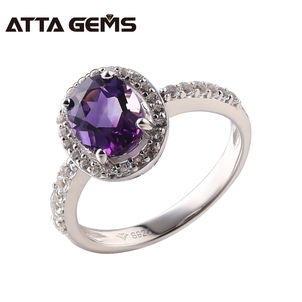 Natural Amethyst Sterling Silver Rings 2.2 Carats Natural Amethyst Silver Rings For Women Wedding Birthday Gifts Top Quality