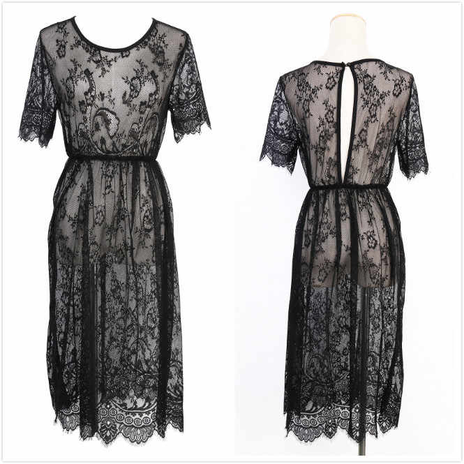 4f46811d65deb Black Sheer Sexy Beach Cover Up Lace Embroidered Mesh Cover Ups Short  Sleeve Swimsuit Cover Up