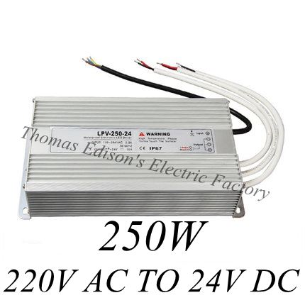 DIANQI waterproof power supply 220V AC TO 24V DC 250w power suply 250w 24V  ac dc converter water proof meanwell 24v 60w ul certificated lpv series ip67 waterproof power supply 90 264v ac to 24v dc