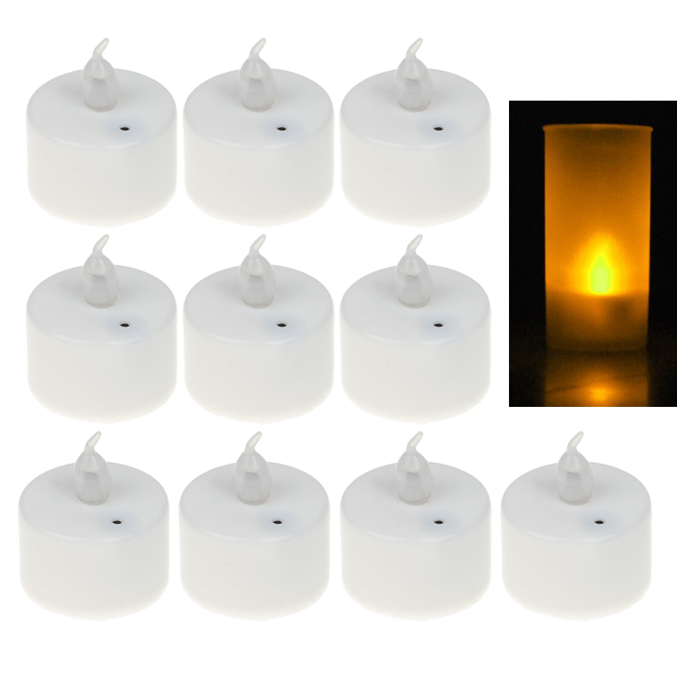 NFLC 10x Flameless LED Flickering candle Tealight - Sound Activated