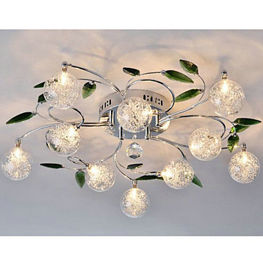 Cool Artistic Aluminum Flush Mount Lights K9 Crystal With 10 Lights Free Shipping