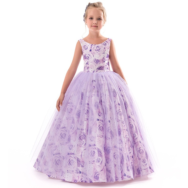 Purple Girls Long Flower Party Ball Gown Prom Dresses For Girl Kids Princess Wedding Teenagers Children First Communion Dress teenage girl party dress children 2016 summer flower lace princess dress junior girls celebration prom gown dresses kids clothes