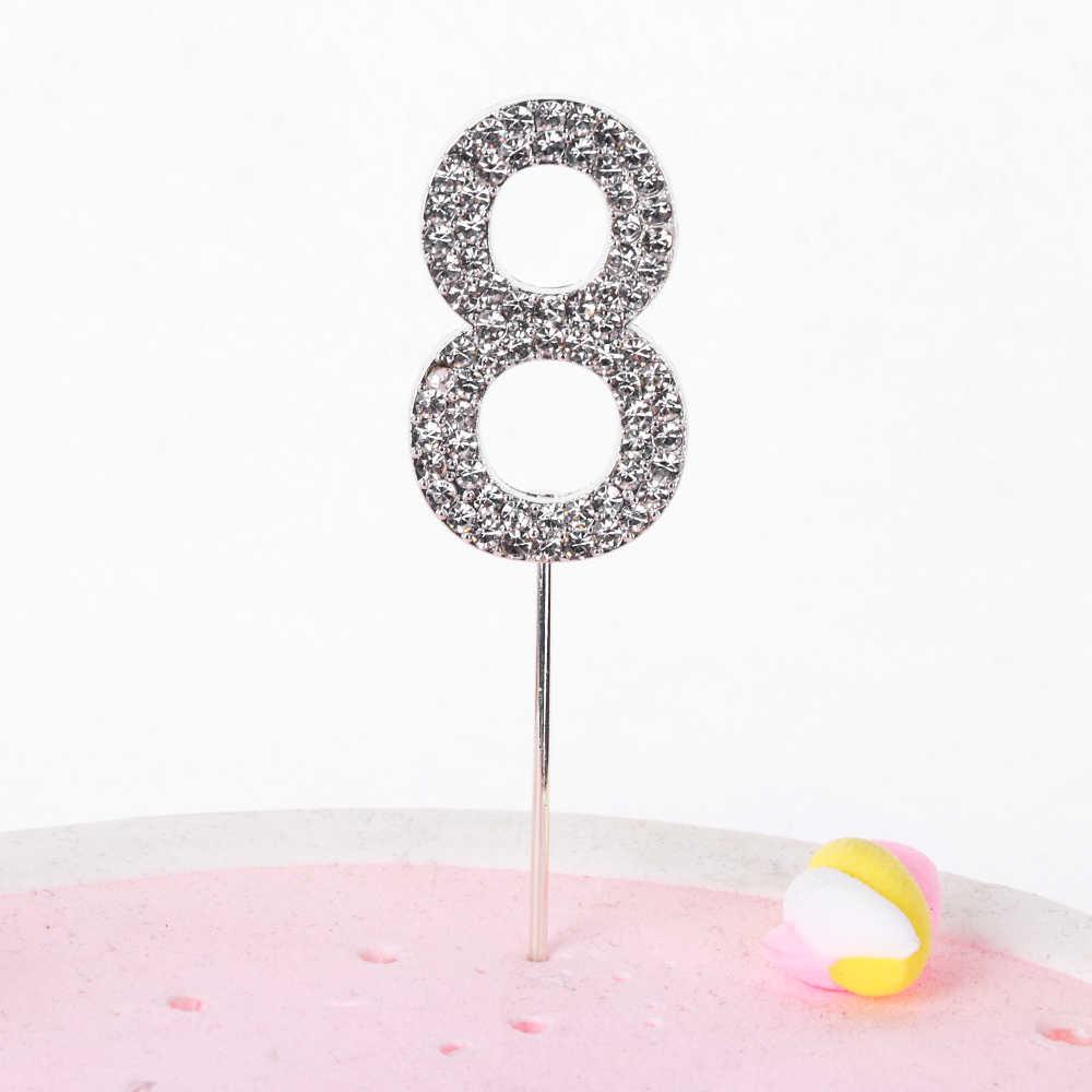 """หมายเลข1PC """"0-9"""" เค้กTopper Gold Diamond-Studded Topperเค้กสำหรับขนมวันเกิดครบรอบวันเกิดตกแต่งงานแต่งงานอุปกรณ์จัดงานแต่งงาน"""