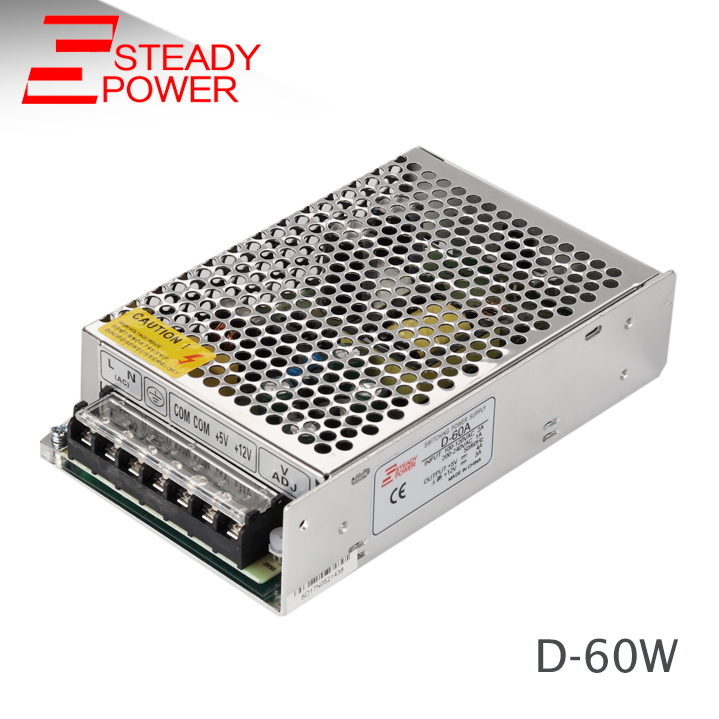 60W Dual Output Switching Power Supply D-60W 5V 12v 24V multiple types switching power supply manufacturer