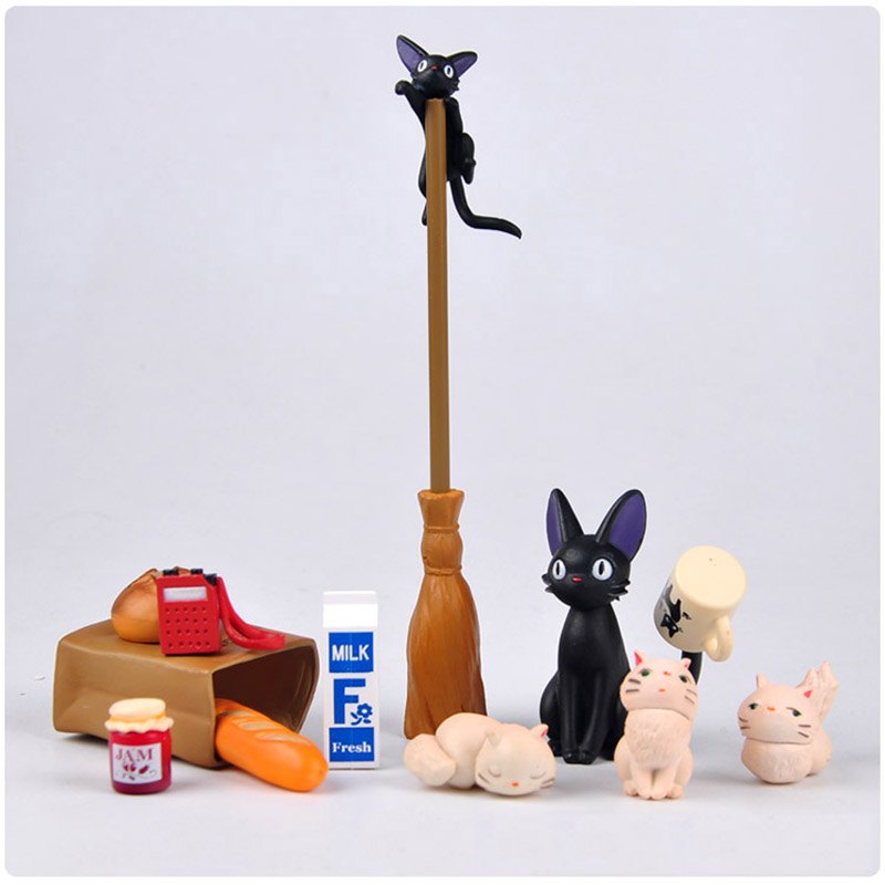 2-8CM Anime Cartoon Kiki's Delivery Service Action Figure Black Cat JiJi PVC Figures Toys for Children 12pcs set children kids toys gift mini figures toys little pet animal cat dog lps action figures