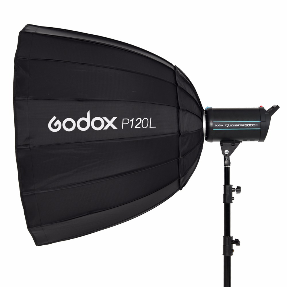 In Stock Godox Portable P120L 120CM Deep Parabolic Softbox Bowens Mount Studio Flash Speedlite Reflector Photo Studio Softbox