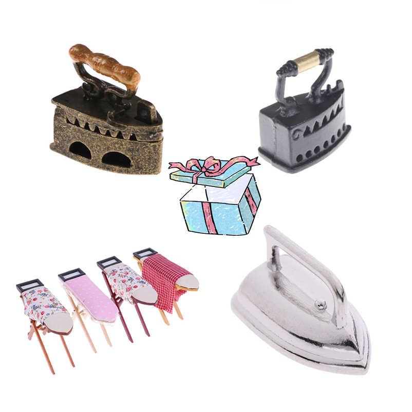 새로운 1:12 인형 집 미니어처 다림질 보드 또는 철 인형 집 가구 인형 집 방 장식 어린이 소녀 장난감 선물