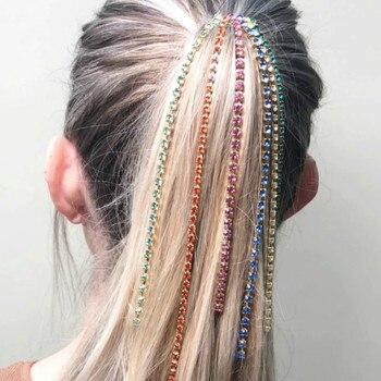 Broche pince chaîne pour cheveux Bling strass au choix
