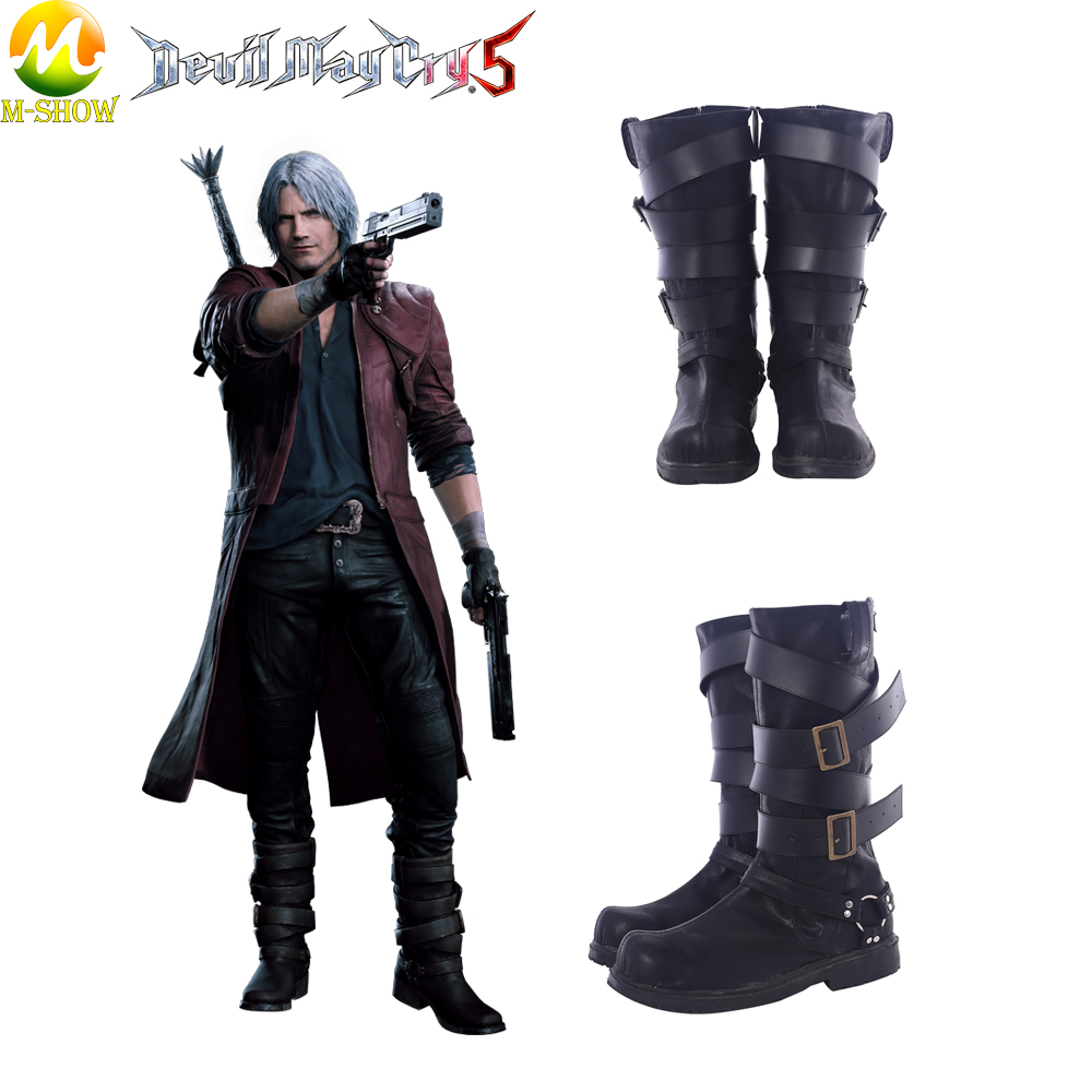 New Game Devil May Cry 5 Cosplay Boots DMC5 Dante Cosplay Black Boots  Halloween Costume accessories For Men Free Shipping