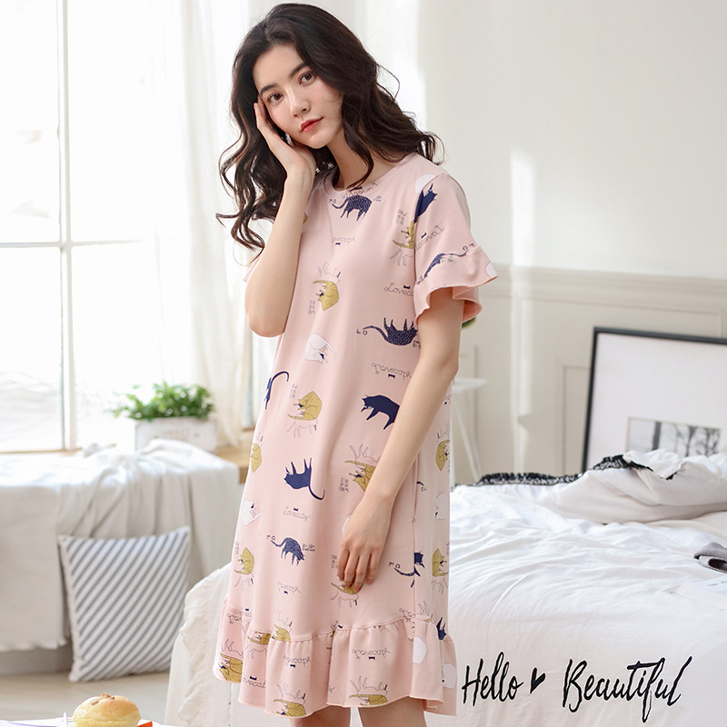 New Cute Cartoon Print Animal Nightgown Nightdress Ruffles With Pockets Cotton Short Sleeve Summer Loose Lounge pyjamas D84810